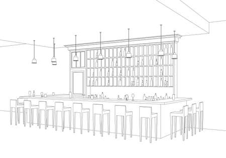 bar table: Line interior of  bar restaurant. Vector perspective view of interior with bar table, stools and shelves with alcohol. Illustration
