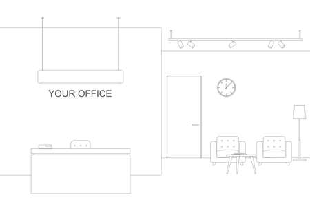 work area: Office line illustration with reception and waiting area. Thin offise interior with furniture.