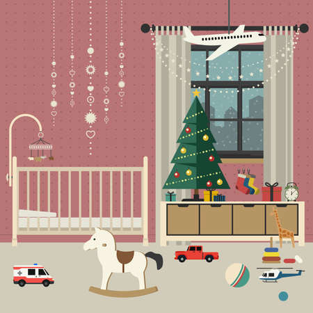 Christmas Tree In Living Room With Furniture In Flat Style. Vector ...
