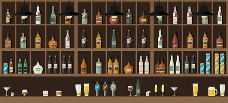 Contador de la barra con bebidas Ilustración de vector