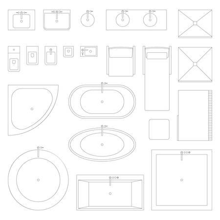 Ikony wnętrza linii dla łazienki. Ilustracje wektorowe
