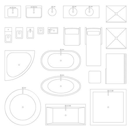 plan view: Line interior icons for bathroom.