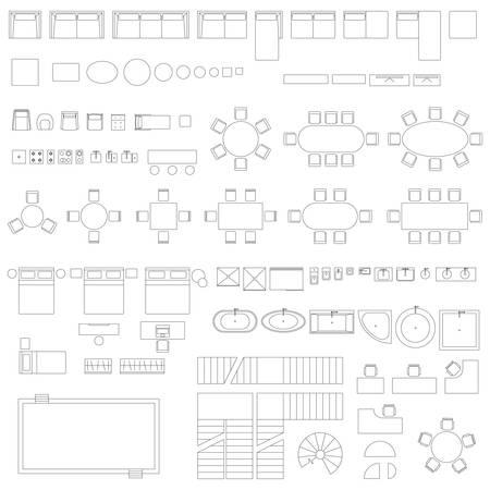 Meubels en elementen lijn symbolen Stock Illustratie