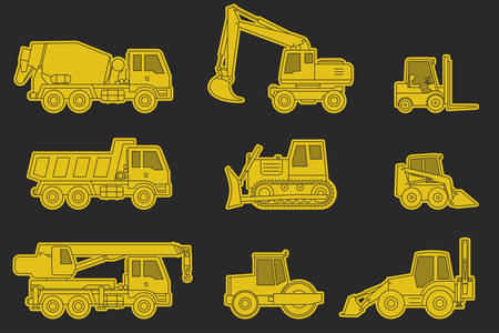 industrial vehicle: Construction machinery line icons. Yellow silhouette of industrial and construction vehicle.