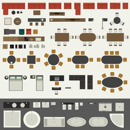 Conjunto de muebles Ilustración de vector