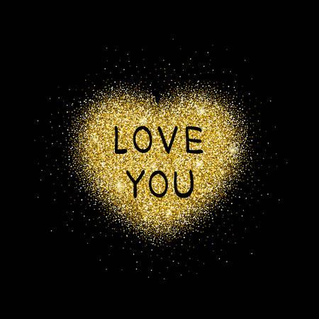 plating: Golden glitter heart.