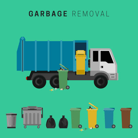 filthy: Garbage truck and waste cuns