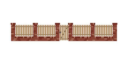 clôture en briques classique avec des planches de bois et porte