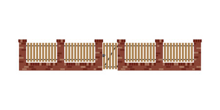 wood planks: Classic brick fence with wood planks and gate