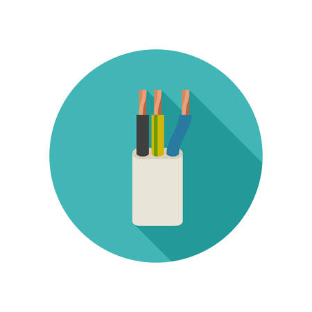 shielded: Electrical cable icon Illustration
