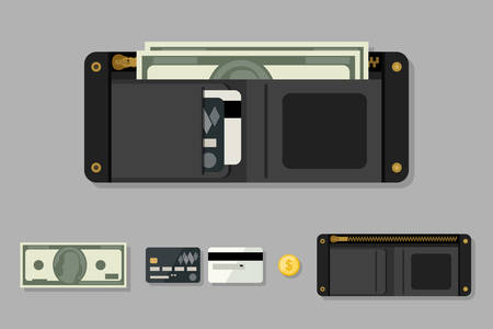 Wallet black with money