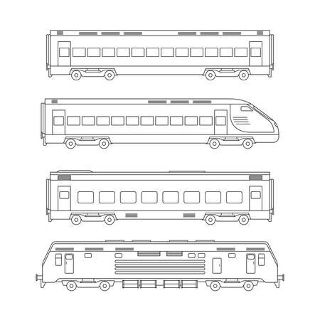 Trains line drawing. Vector Illustration