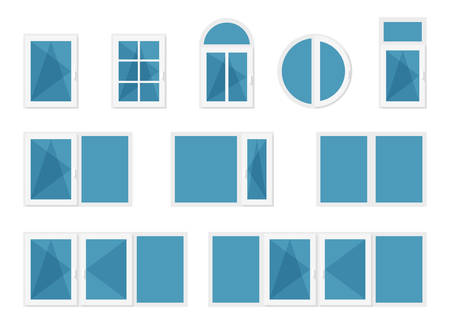 Windows with white frames Illustration