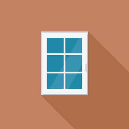 windows home: Window with white frame Illustration