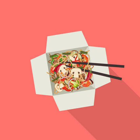 Chinese noodles in box. Illustration