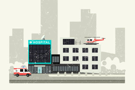 reanimation: Hospital grunge illustration.