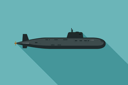 Submarine with long shadow Illustration