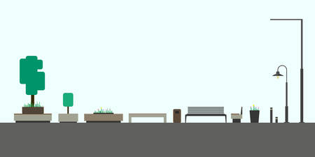 space rubbish: Outdoor furniture set illustration. Vector banner with urban elements and lighting.