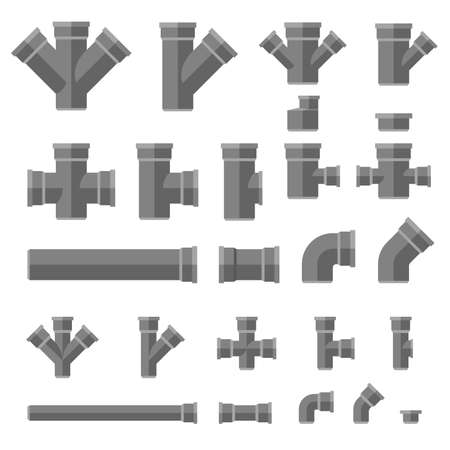 sewage system: Sewage pipes flat icons. Vector set parts and pipes of engineering sewer system.