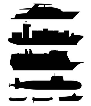 freight transportation: Ships and boats black silhouettes