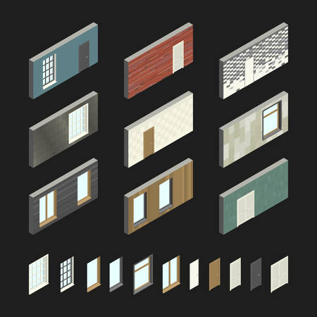 house construction: Wall patterns with doors and windows Illustration