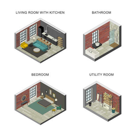Interiors set of bathroom, living room, bedroom and utility room. Vector isometric illustrations. Vettoriali