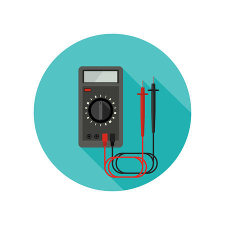 Multimeter flat illustration with long shadow. Vector round icon of Electrical diagnostics.