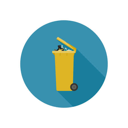wastebasket: Dumpster with garbage in flat style. Vector icon of yellow garbage can with long shadow.