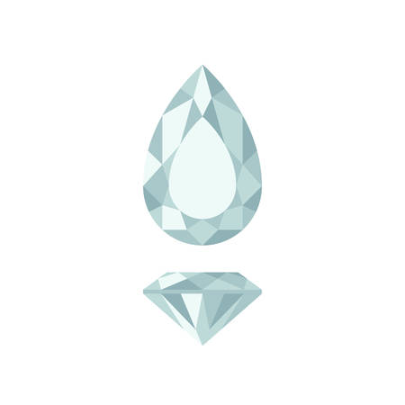Diamond pear shape in top and side views.