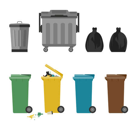 refuse: Garbage cans flat icons Illustration