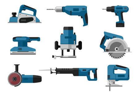 joinery: Electric tools set vector illustration.