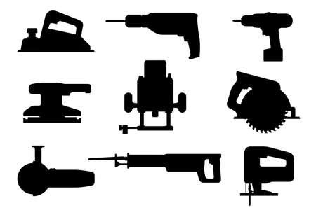 電動工具セット。のこぎり、ドリル、平面、グラインダー、ドライバーの黒いベクター シルエット。