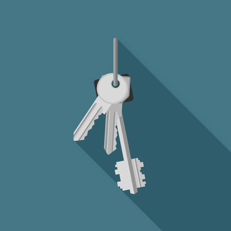 Bunch of keys flat icon. Illustration