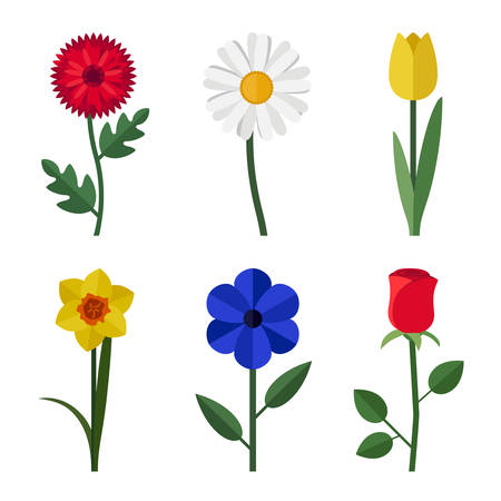Flowers flat icons Vector illustration.