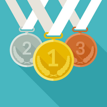 Medals from gold, silver and bronze Vector illustration.