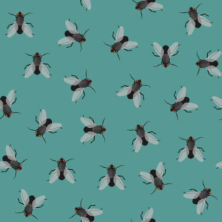 Seamless pattern with flies. Vector flat repeatable background with houseflies.