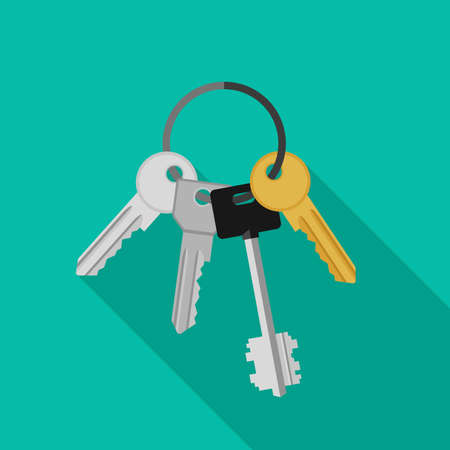 Keys with ring. Vector flat banner with bunch of keys.