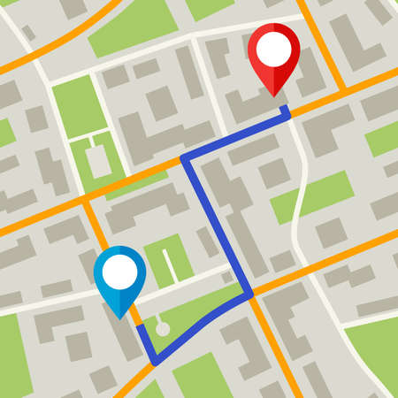 Map with pins and blue way.