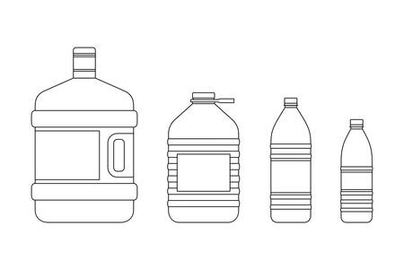 medium size: Plastic transparent bottles for water of different sizes.