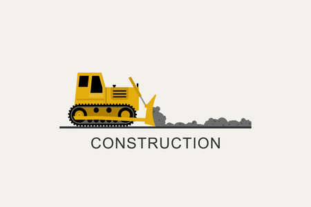 Bulldozer leveled the road. Construction machinery in flat style.
