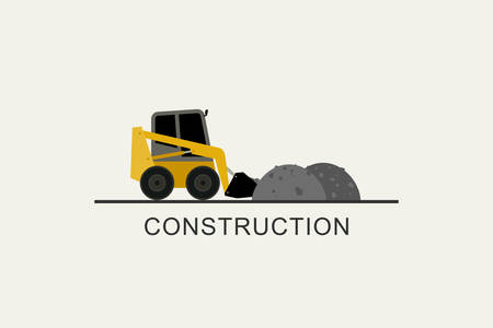 Loader removes heaps of soil. Construction machinery in flat style. Illustration