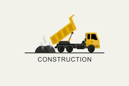 Construction truck unloads asphalt