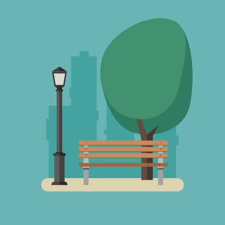 wooden post: Park with bench and streetlight.