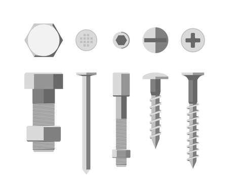 Screws and bolts in flat style. Illustration of metallic fixing elements.