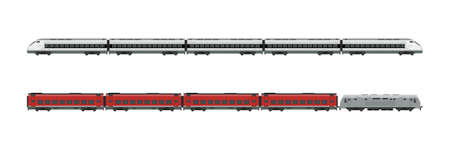 Trains flat illustrations. Express Passenger trains and locomotives.