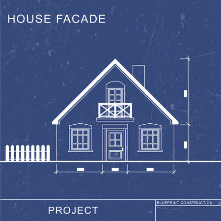 Architectural blueprint. Facade drawinf on blue background