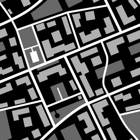 Map pattern. Repeatable black and white city plan with streets.