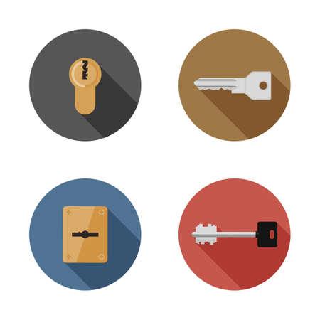Iconos de llaves y cerraduras. Ilustración plana de cerraduras de puertas y llaves diferentes. Ilustración de vector