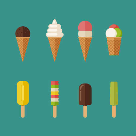 Ice cream flat icons set. Illustration of Ice creams with waffle cone and ice lolly.
