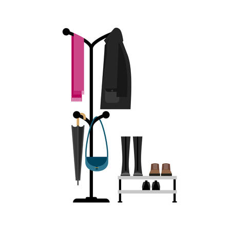 Furniture for hall in flat style. Clothes hanger and shoes. Illustration